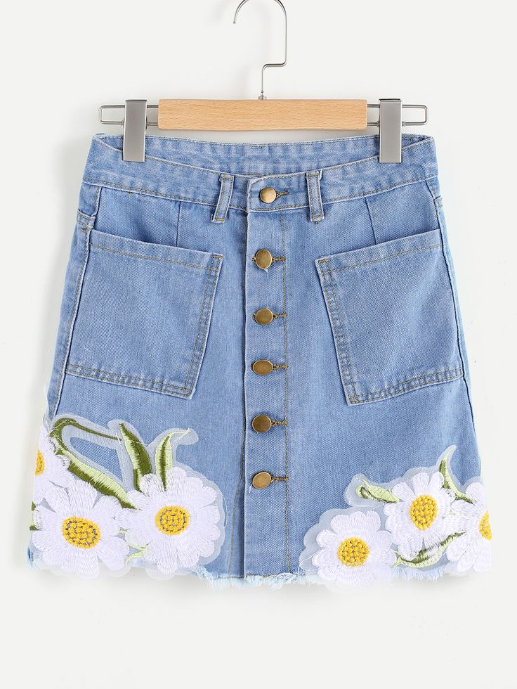 Shop Embroidered Appliques Single Breasted Denim Skirt online. SheIn offers Embroidered Appliques Single Breasted Denim Skirt & more to fit your fashionable needs.