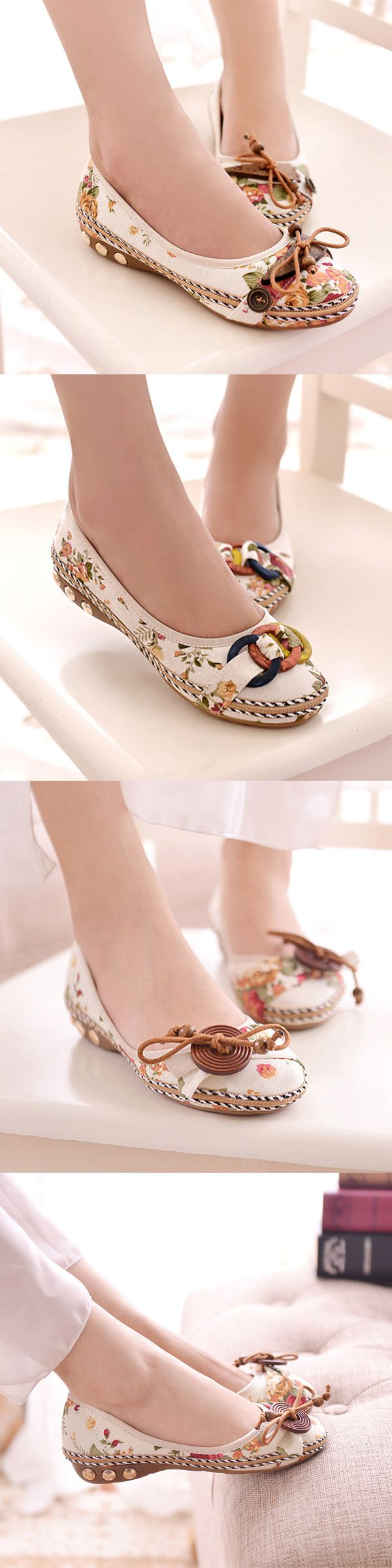 US$14.15 Bowknot Button Flower Small Wooden Decoration Slip On Flat Loafers