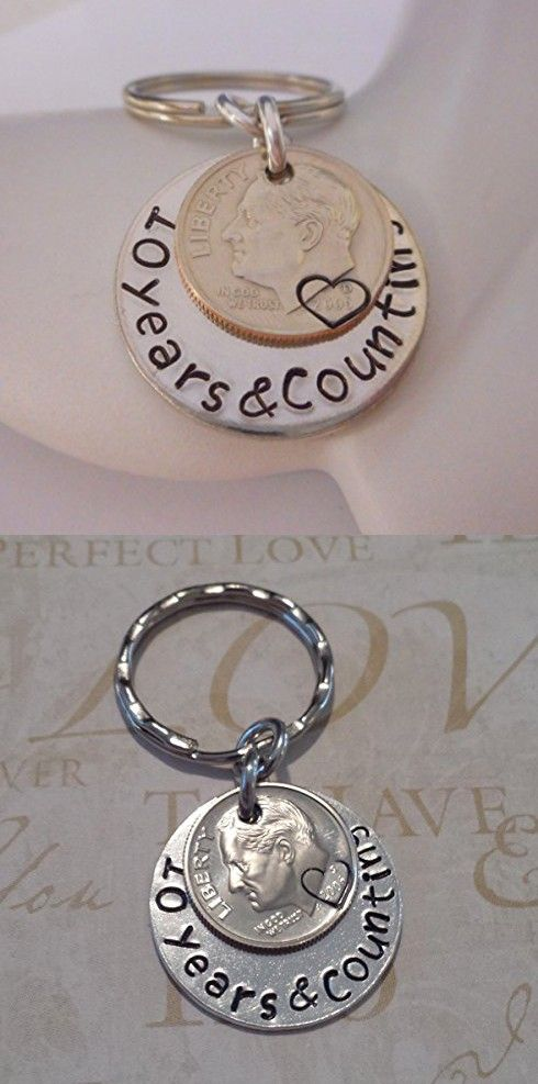 10 Years and Counting 2006 Dime Key Chain Wedding Anniversary Gift for Him or Her