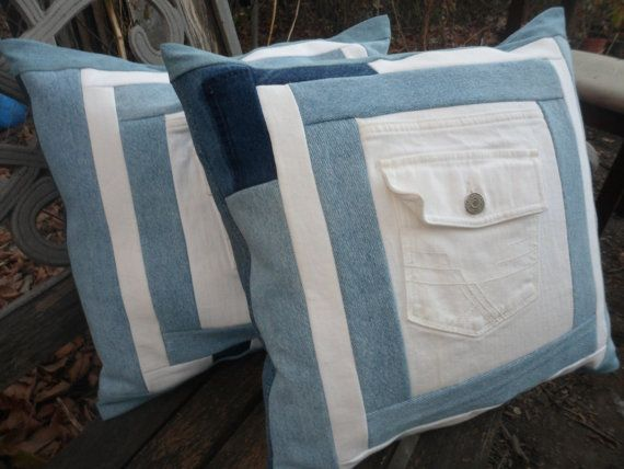 Hey, I found this really awesome Etsy listing at https://www.etsy.com/listing/171309481/blue-and-white-jean-pocket-pillow-covers