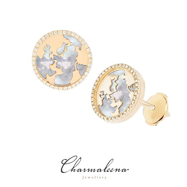 My World Earrings – White Mother of Pearl Framed in Diamonds in Yellow Gold.. #world  #diamond #earring  #jewellery  #mycharmaleena #charmaleena #finejewellery  #yellowGold   #jeddah #riyadh #ksa #saudi #saudiarabia #Dubai #online #جدة  #السعودية  #دبي #الرياض