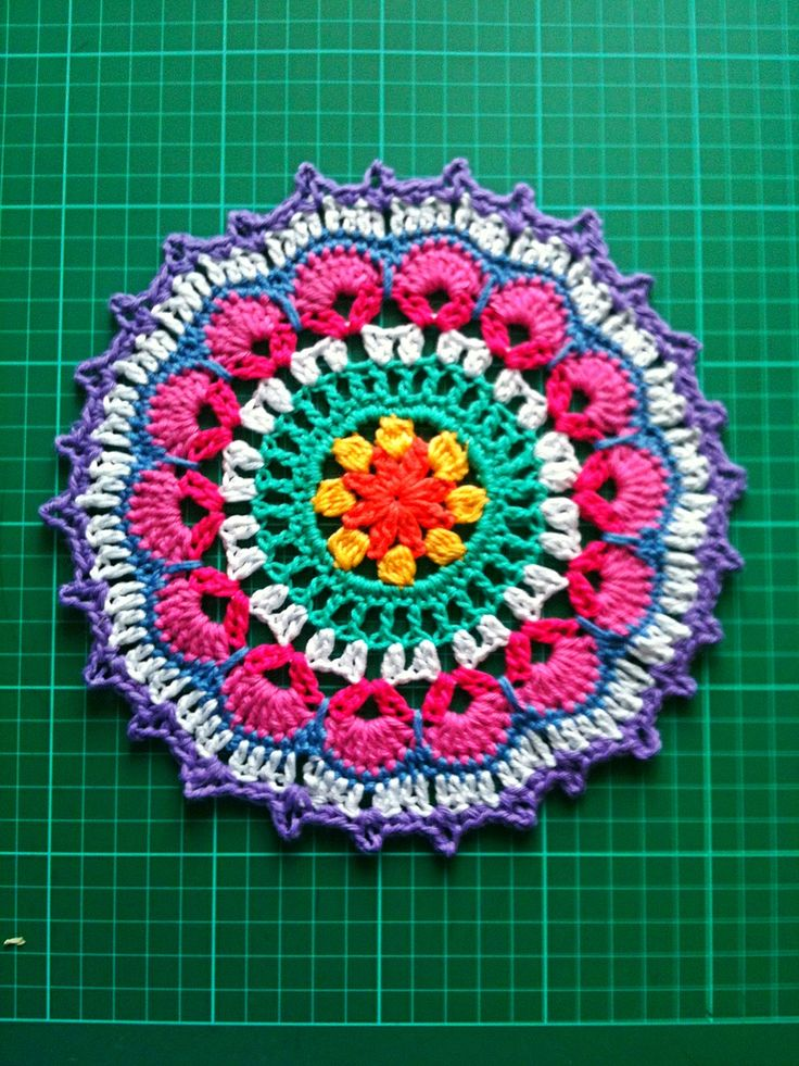 My 2nd mandala, it's on it's way to Yarndale?!? Picot Mandala pattern from issue 7 of Simply Crochet. (Wink at  acreativebeing.com)