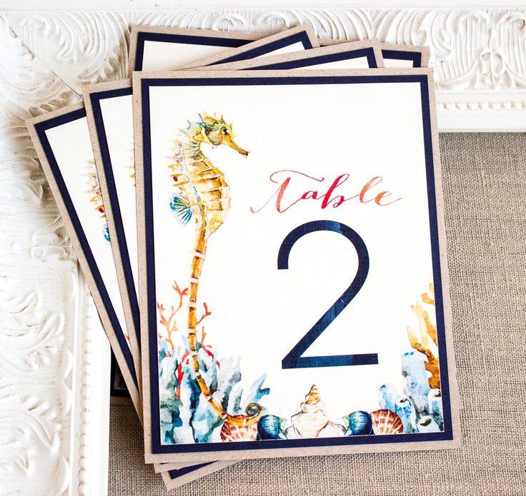 Watercolor Seahorse Wedding Reception Table Numbers