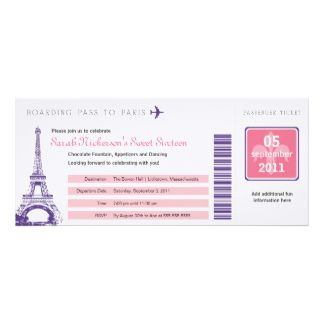 Documento de embarque del dulce 16 a París Invitación 10,1 X 23,5 Cm