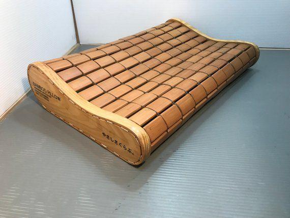 vintage japanese bamboo headrest pillow
