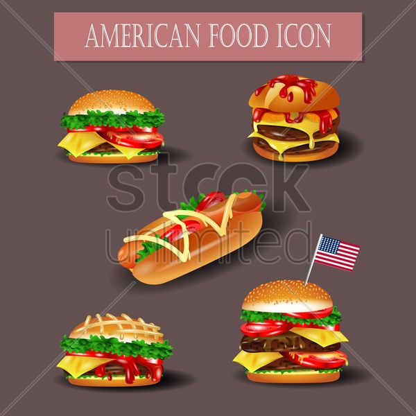 american food icons vector graphic