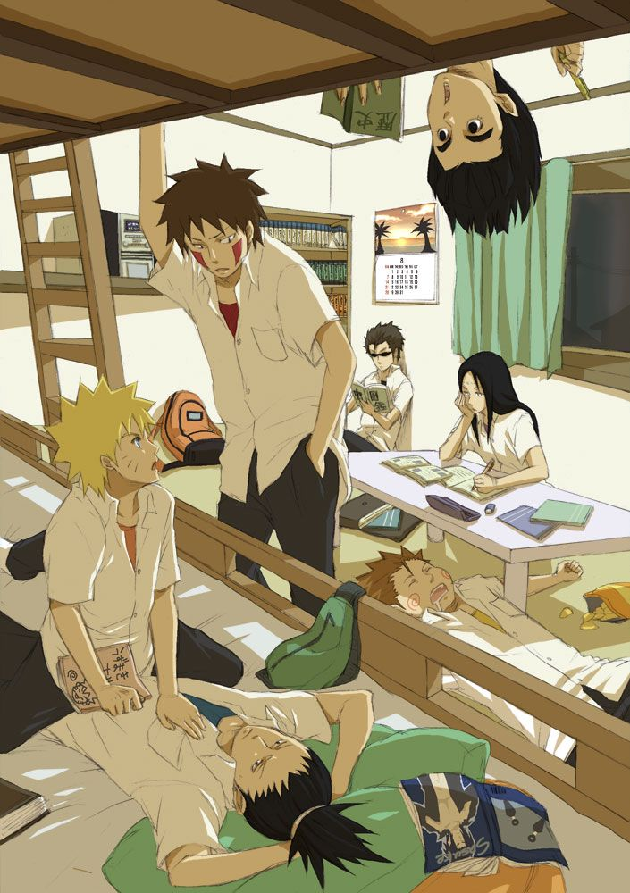 Kiba shikamaru neji Choji naruto shino college --- whats Naruto doing to Shika?