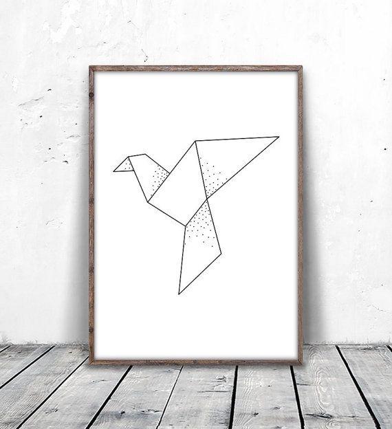 Geometric Bird Print, Origami Print, Dove Print, Pigeon Art, Geometric Dove Art, Paper Crane Art, Geometric Bird Art, Abstract Bird Download, digital print, printable art