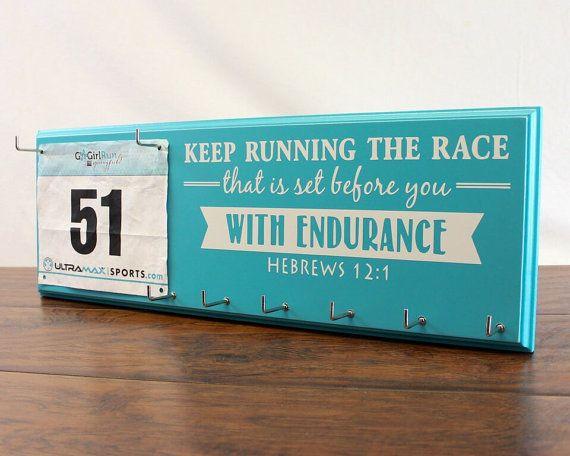 Running Medal Holder and Race Bib Hanger by StrutYourStuffSignCo