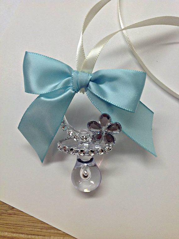 12 pcs baby shower pacifier necklace tiffany blue by avaandcompany