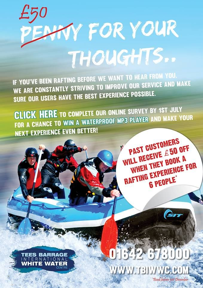 Win a waterproof MP3 player by filling out this survey if you have been rafting at the Tees Barrage! #whitewaterrafting #win