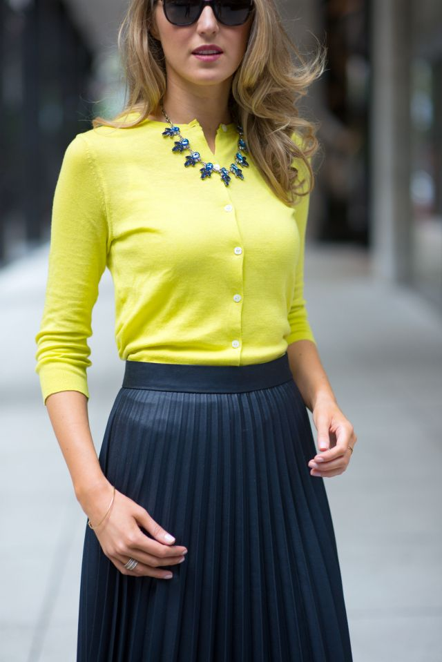 Lime green cardigan, pleated skirt - The Classy Cubicle