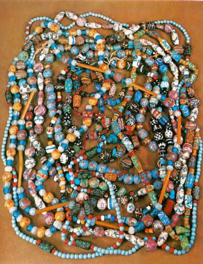 In 1804, from the journals of the Lewis and Clark Expedition we learn of considerable use of trade beads with the Indians. The rugged early fur trappers or mountain men exchanged countless millions of these glass trade beads for vast fortunes in valuable furs. The beads, in turn, became a source of wealth and prestige among the Indians and were frequently traded among the various bands and tribes, following ancient Indian trade routes.