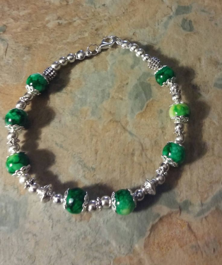 Green marble and antique silver baalls,wheels and lobster clasp handmade braclet by SpryHandcrafted on Etsy