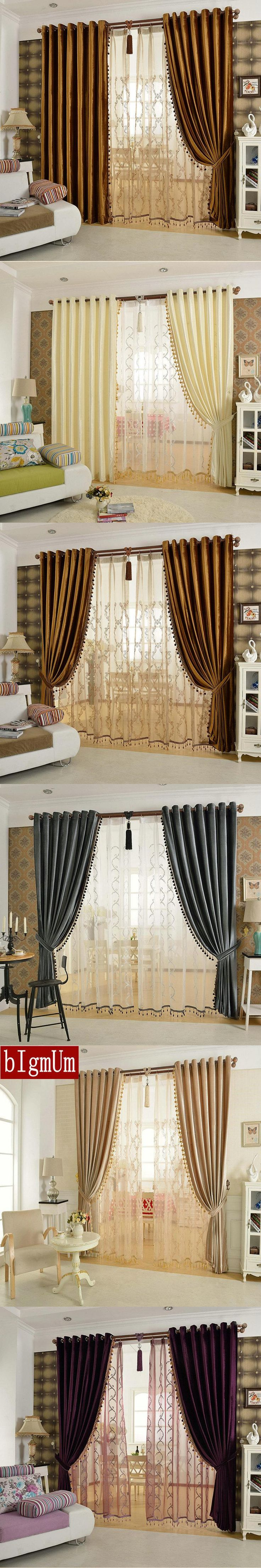 Luxury Curtains Solid Flannel Curtains Ready Made With Braids Colorful  Beige/ Brown /Golden /
