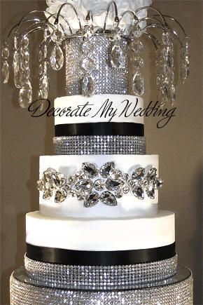 Diamond Bling On Wedding Cake Rhinestone Banding Ribbons Crystal Toppers