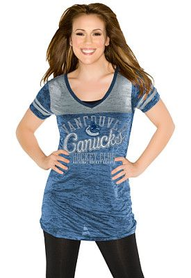 Vancouver Canucks Women's The Coop V-Neck T-Shirt 'Touch' by Alyssa Milano