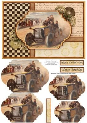 VINTAGE MOTOR RACING Quick Card Pyramage on Craftsuprint designed by Janet…