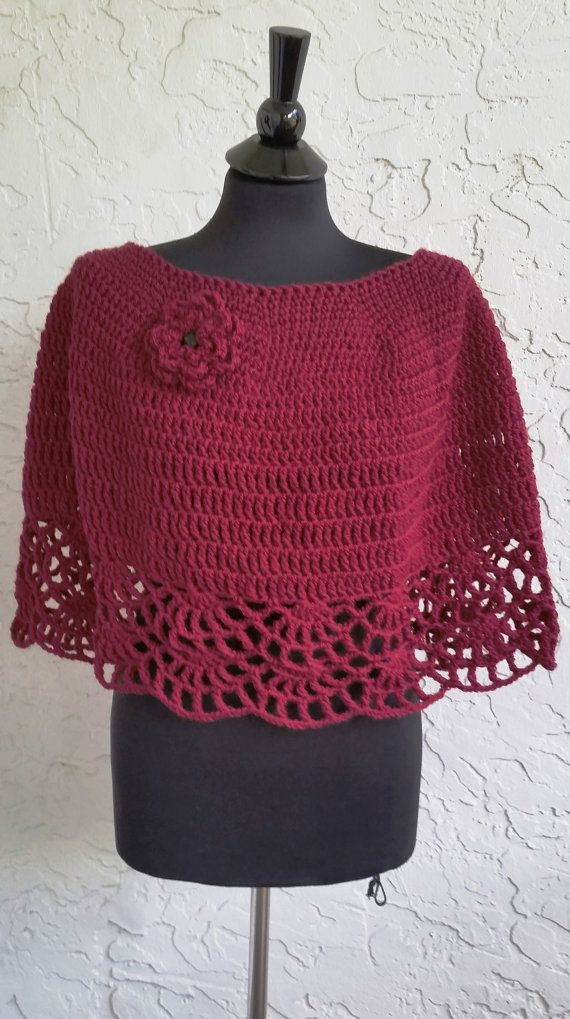 hand crochet capelet women shawl women poncho evening by annmag