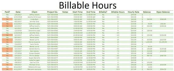 Billable Hours Tracker Use this spreadsheet to track hourly services rendered and client open balances. The whole workbook is coded and made to be extremely user friendly! Features Include: -Client Profile sheet with a drop down list of your clients to easily view data -Client