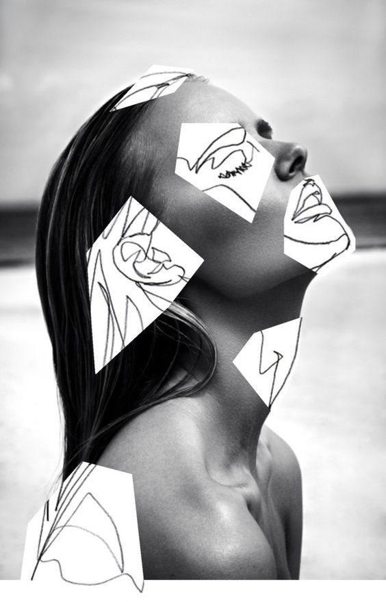 Interesting use of hand-drawing and b/w photography.