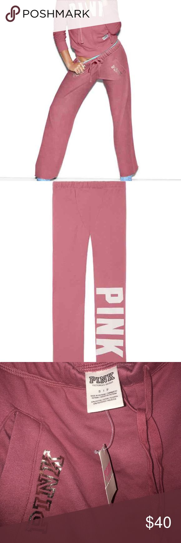 VS PINK soft begonia boyfriend sweatpants Authentic VS PINK brand new with tags! NWT price is firm. NO OFFERS. PINK Victoria's Secret Pants