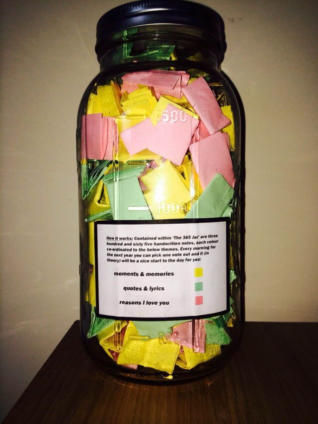 This is a PERFECT gift !  365 handwritten notes in a Mason Jar each colour co-ordinated to three themes.   Yellow:  moments & memories Green :  quotes and lyrics red      :  reasons I love you