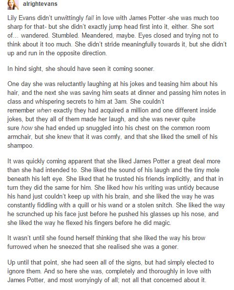 How Lily fell in love with James. Or stumbled in love with James.
