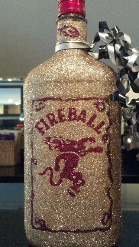 I glittered two bottles of fireball for my best friends birthday's :)