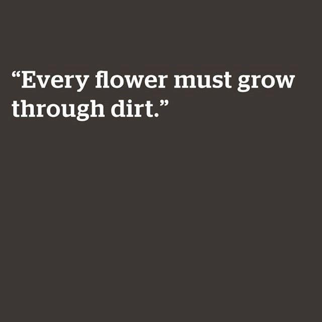 Every flower must go thru dirt to be beautiful!!!