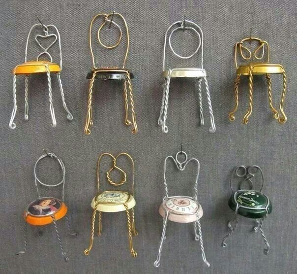 Champagne corks DIY project Tiny metal framed dollhouse chairs