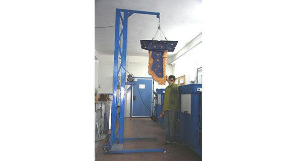"Our Electric Winch Crane that is manufactured in our factory in Greece in order to carry large ice sculptures that are produced by  the ""Hercules"" Ice Sculpture Machine."