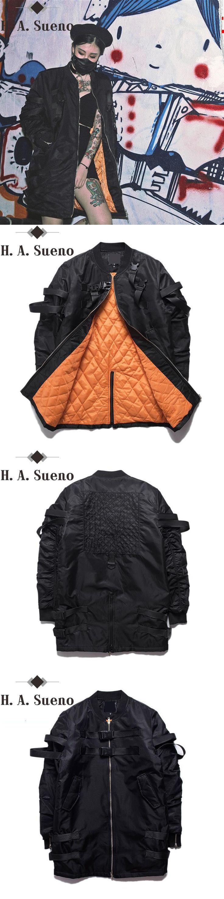 Fashion warm parkas Jacket Men punk black streetwear hip hop Mens long Bomber Jackets Mens Parka's Winter jackets and Coats