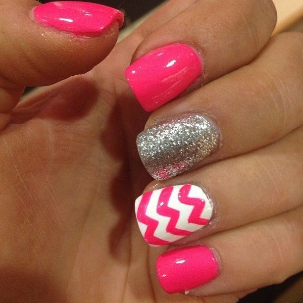 Fun summer look---Bright pink, white and silver patterned nails