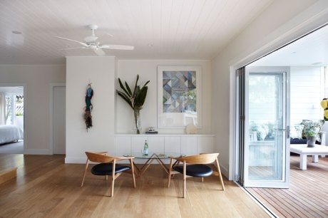 Modern dining area and tropical plant