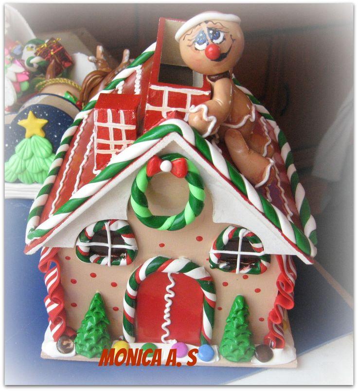 Casita de jengibre elaborada en trupan y porcelana en - Casitas de navidad ...