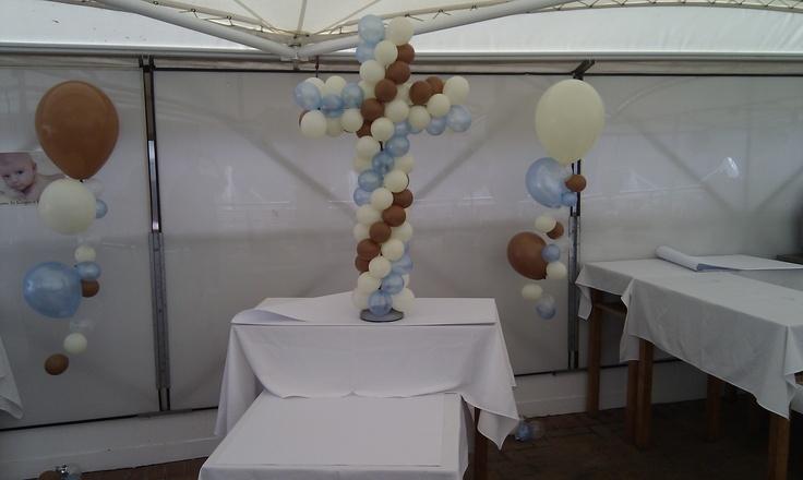 Christening balloons in White, Mocha and Azure blue