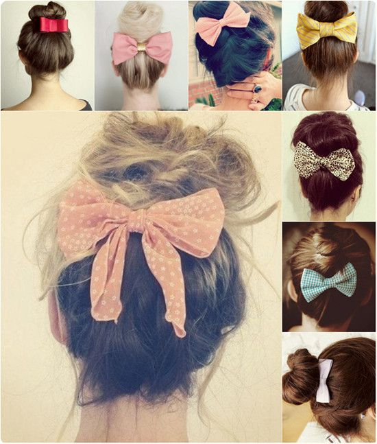 cute top knot hairstyle with hair bow and cheap straight hair extension clip on