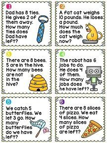 Subtraction word problems cards - great center with cute pictures: