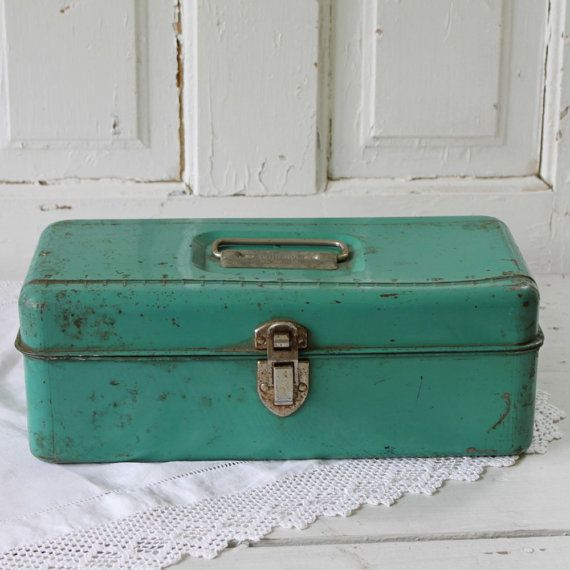 green metal toolbox by UrbanFarmgirlAndCo on Etsy