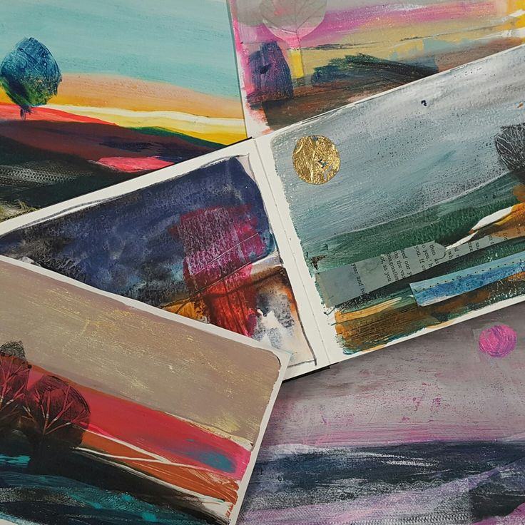 Sketchbook pages- acrylic, Gelli plate, collage and mixed media by Rachel Anne Cronin