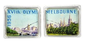 Melbourne Olympics 1956 silver plate and re-purposed stamp cufflinks