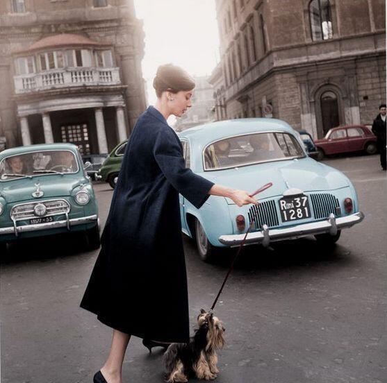 Audrey Hepburn walking her dog
