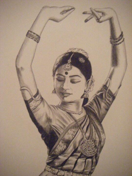Pencil sketch of a Bharatanatyam dancer