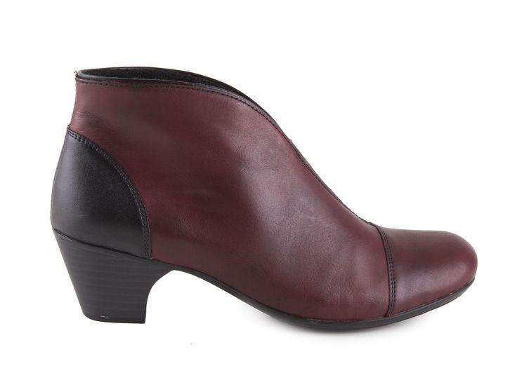 Rieker - Elegantní dámské kotníkové boty na podpatku šíře G 50553-35 / vínově červená - černá