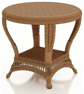 Catalina Outdoor Wicker End Table, Straw Wicker - traditional - Outdoor Side Tables - PatioProductions