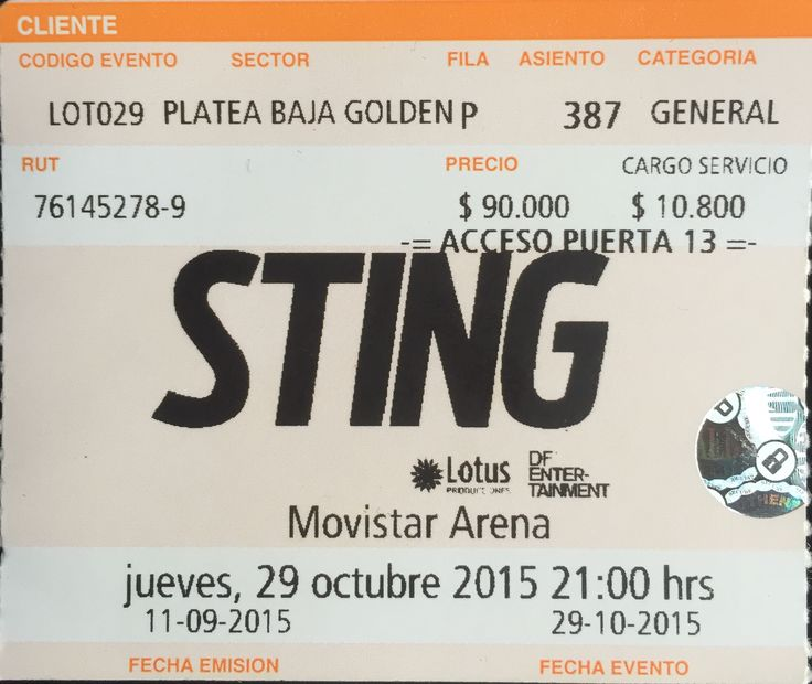 Sting - Live in Santiago, Chile 29-10-2015