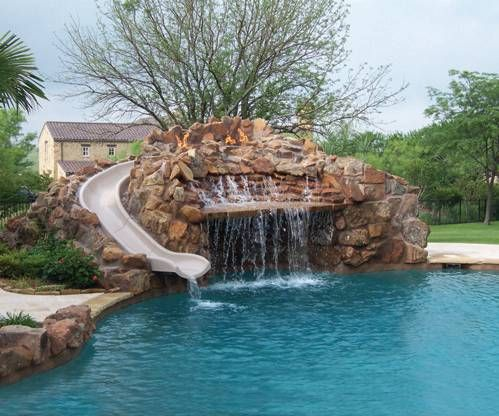 swimming pools with slides | Customize You Swimming Pool Area with Our Build Your Own Slide (BYOS ...