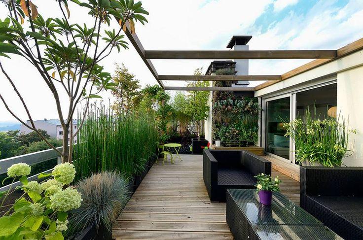 Dachterrasse, Dachgarten, modern, Rooftop, Ideen, Gestaltung, Design, Sichtschutz