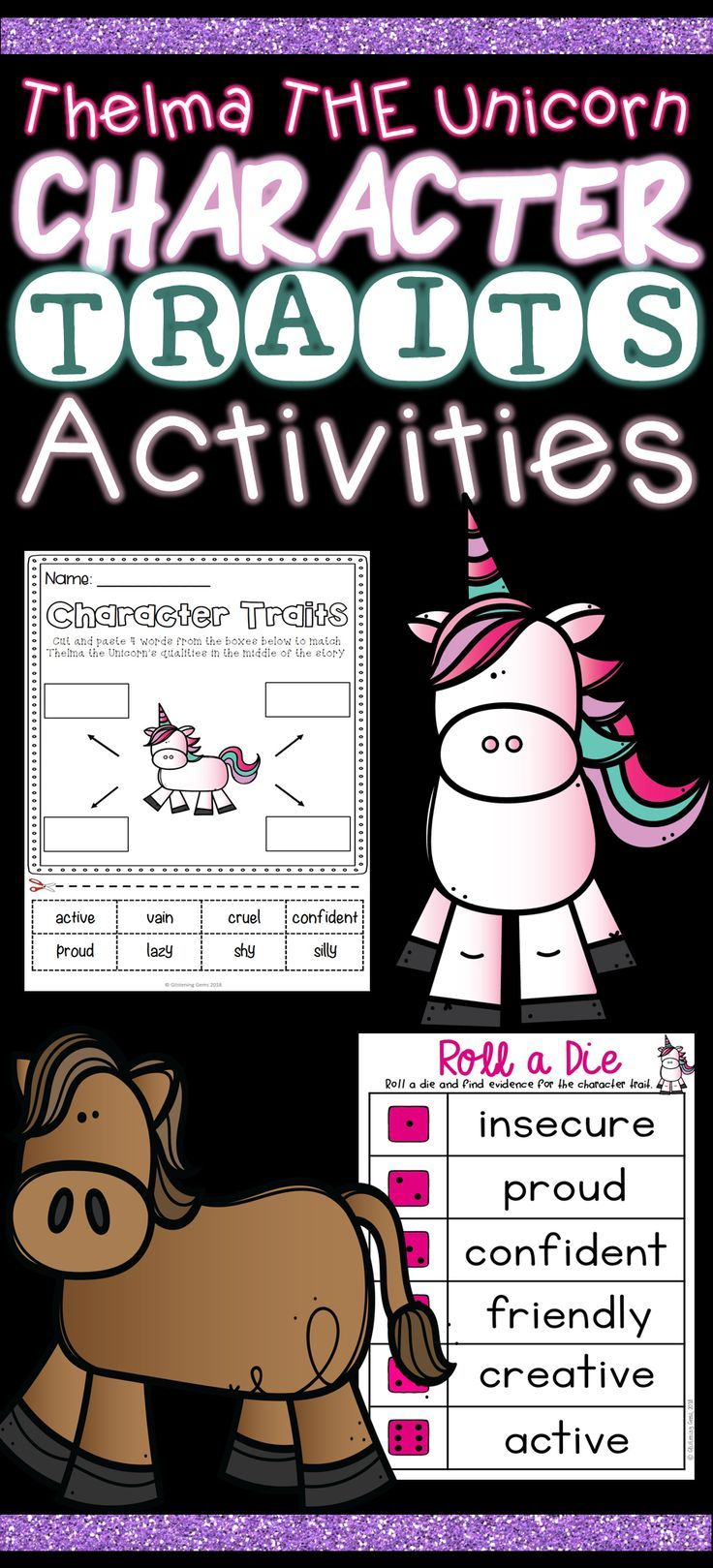 Helma The Unicorn Character Traits And Physical Trait Activities This Book Companion Consists Of A V Character Trait Character Traits Activities Activities